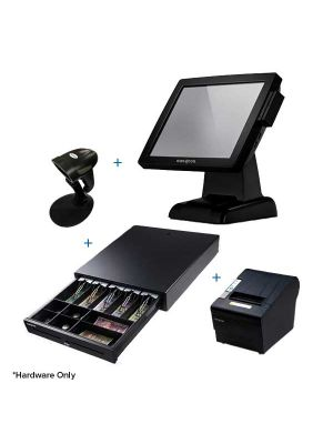 pos machine with barcode scanner, cash drawer and receipt printer
