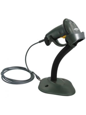 zebra barcode scanner in a stand