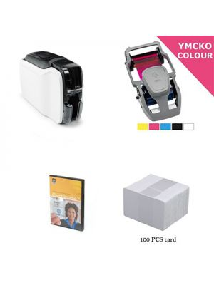 Bundle Zebra ZC100 ID Card Printer, Single-Sided + Ribbon + Software + 100 Cards