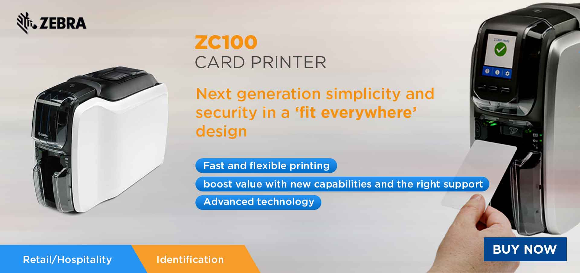 zebra zc100 id card printer